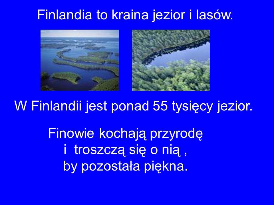 Finlandia to kraina jezior i lasów. W Finlandii jest ponad 55 tysięcy jezior. Finowie kochają przyrodę i troszczą się o nią, by pozostała piękna.