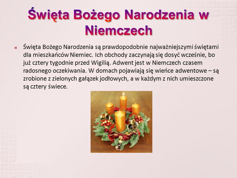  Święta Bożego Narodzenia są prawdopodobnie najważniejszymi świętami dla mieszkańców Niemiec. Ich obchody zaczynają się dosyć wcześnie, bo już cztery