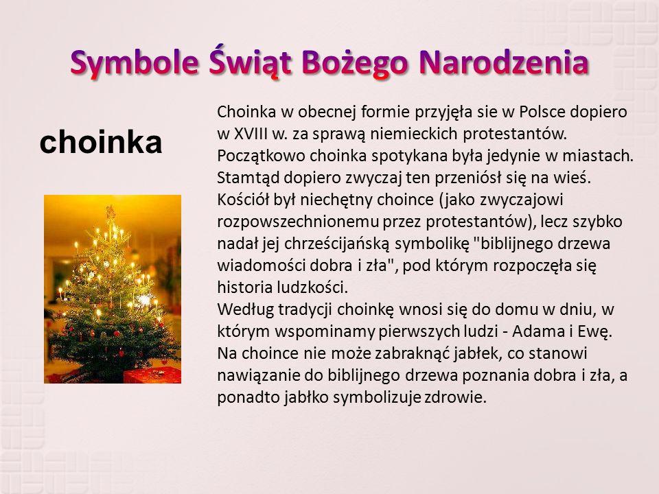 Choinka w obecnej formie przyjęła sie w Polsce dopiero w XVIII w. za sprawą niemieckich protestantów. Początkowo choinka spotykana była jedynie w mias