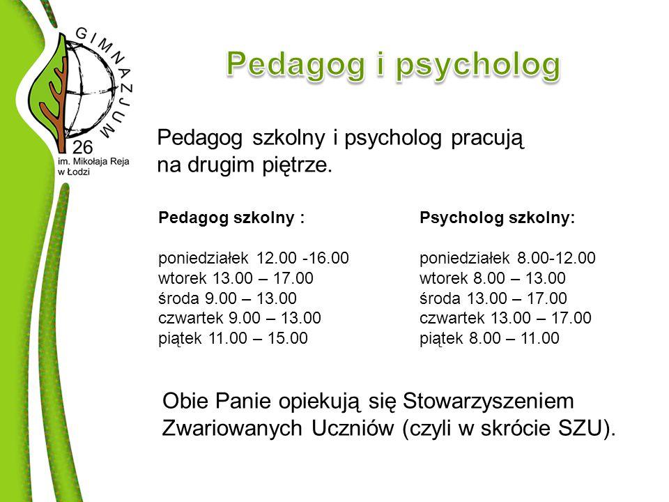 Pedagog szkolny i psycholog pracują na drugim piętrze.