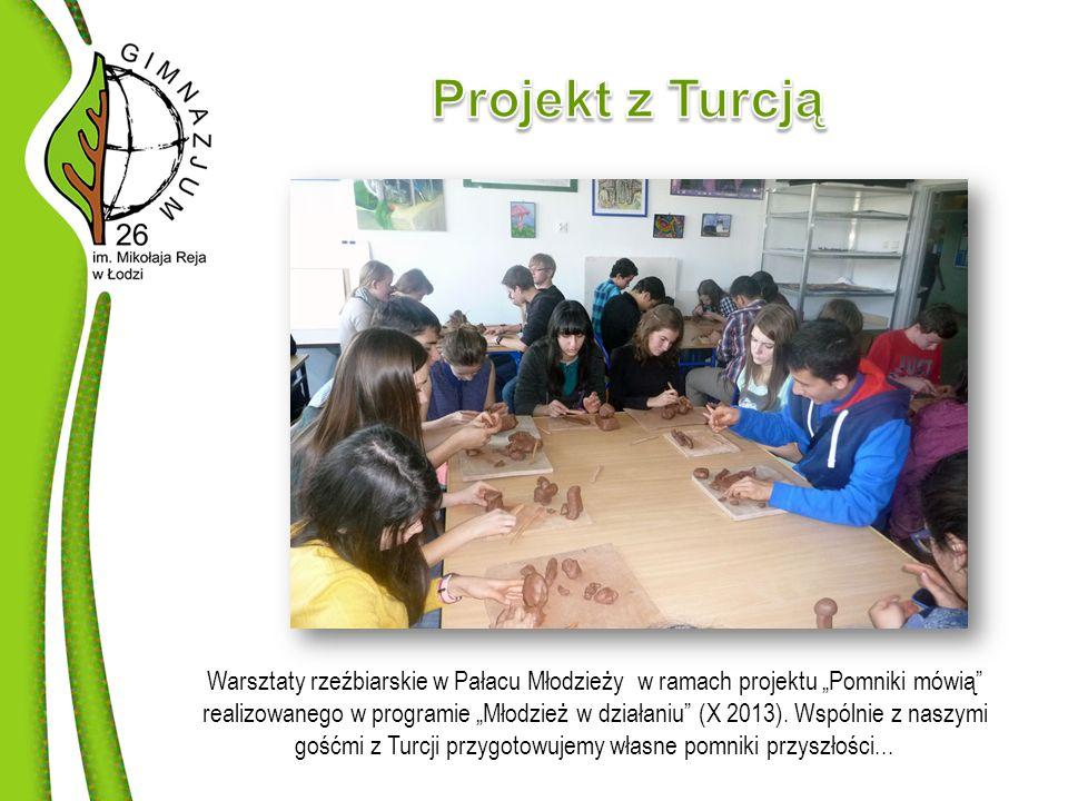"""Warsztaty rzeźbiarskie w Pałacu Młodzieży w ramach projektu """"Pomniki mówią realizowanego w programie """"Młodzież w działaniu (X 2013)."""