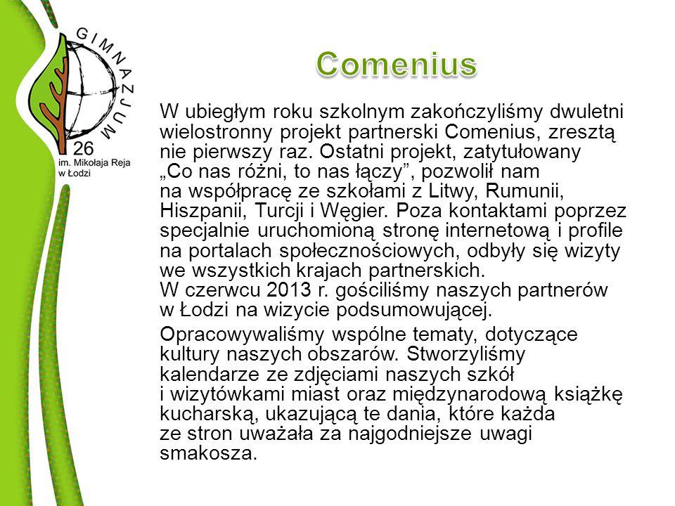 W ubiegłym roku szkolnym zakończyliśmy dwuletni wielostronny projekt partnerski Comenius, zresztą nie pierwszy raz.