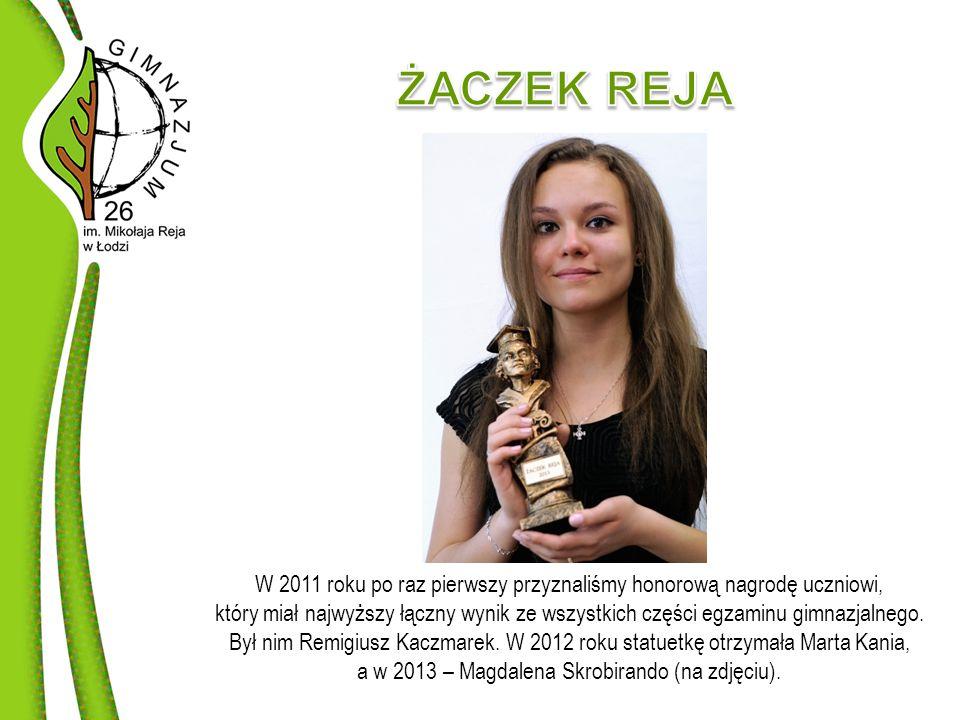 W 2011 roku po raz pierwszy przyznaliśmy honorową nagrodę uczniowi, który miał najwyższy łączny wynik ze wszystkich części egzaminu gimnazjalnego.