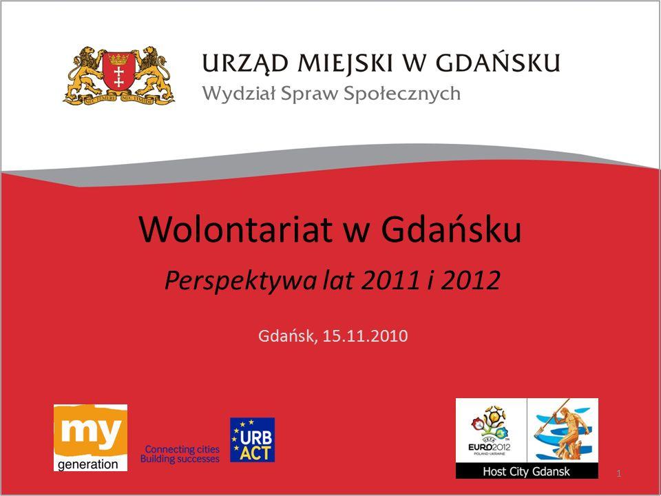 Wolontariat w Gdańsku Perspektywa lat 2011 i 2012 Gdańsk, 15.11.2010 1