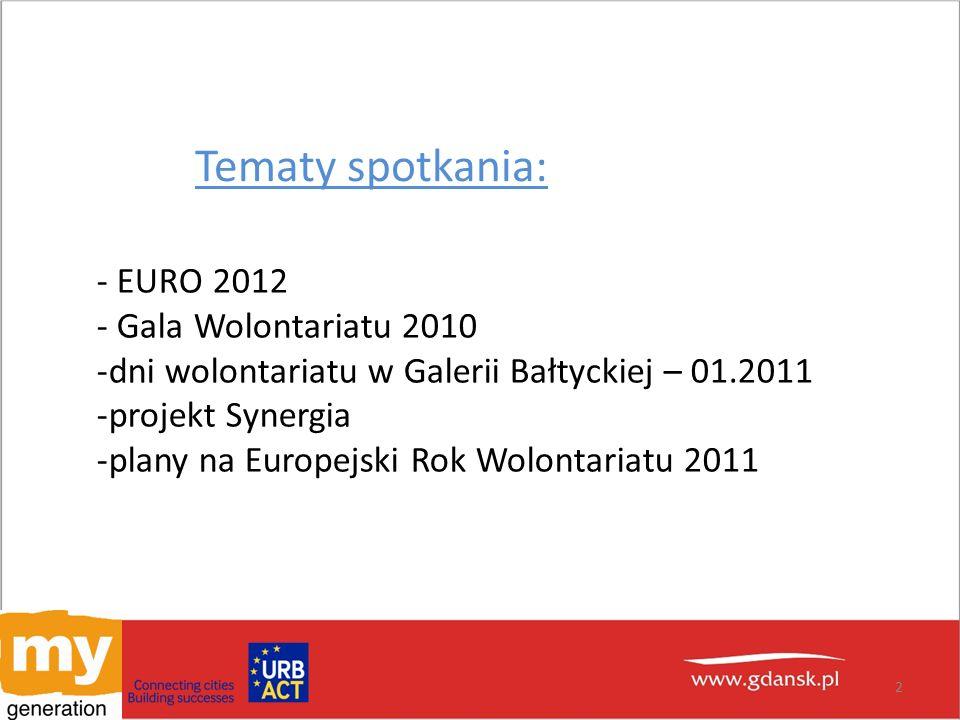 Tematy spotkania: - EURO 2012 - Gala Wolontariatu 2010 -dni wolontariatu w Galerii Bałtyckiej – 01.2011 -projekt Synergia -plany na Europejski Rok Wolontariatu 2011 2