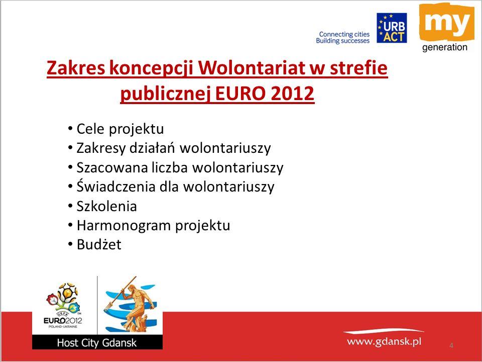 Zakres koncepcji Wolontariat w strefie publicznej EURO 2012 Cele projektu Zakresy działań wolontariuszy Szacowana liczba wolontariuszy Świadczenia dla wolontariuszy Szkolenia Harmonogram projektu Budżet 4