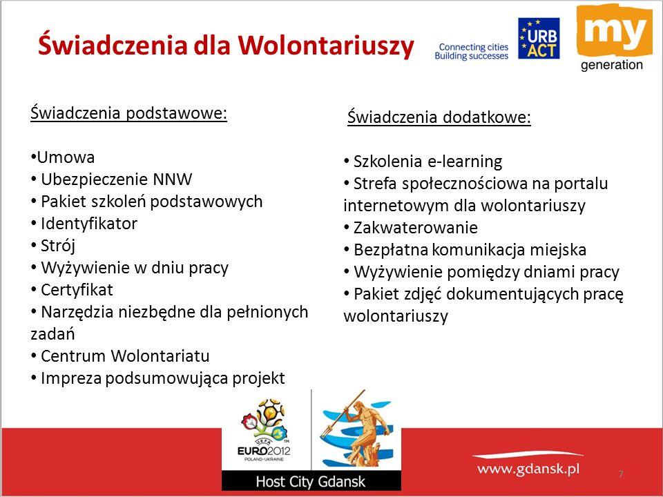 Świadczenia dla Wolontariuszy Świadczenia podstawowe: Umowa Ubezpieczenie NNW Pakiet szkoleń podstawowych Identyfikator Strój Wyżywienie w dniu pracy Certyfikat Narzędzia niezbędne dla pełnionych zadań Centrum Wolontariatu Impreza podsumowująca projekt 7 Świadczenia dodatkowe: Szkolenia e-learning Strefa społecznościowa na portalu internetowym dla wolontariuszy Zakwaterowanie Bezpłatna komunikacja miejska Wyżywienie pomiędzy dniami pracy Pakiet zdjęć dokumentujących pracę wolontariuszy