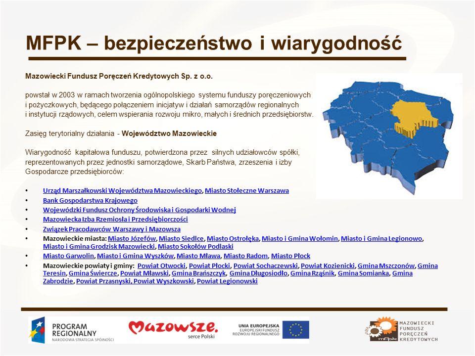 MFPK – bezpieczeństwo i wiarygodność Mazowiecki Fundusz Poręczeń Kredytowych Sp. z o.o. powstał w 2003 w ramach tworzenia ogólnopolskiego systemu fund