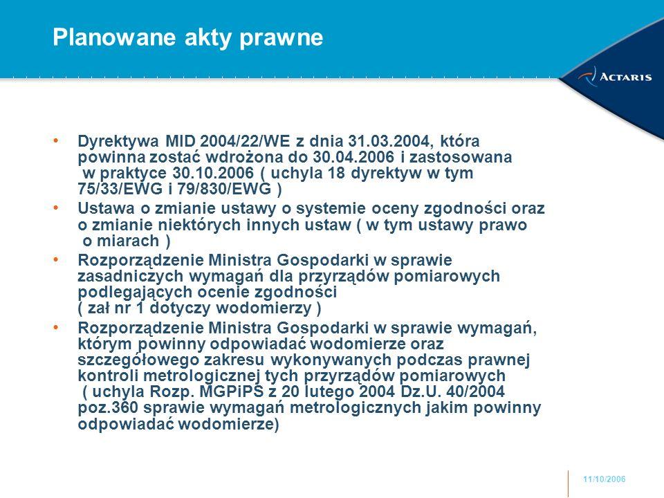 11/10/2006 Planowane akty prawne Dyrektywa MID 2004/22/WE z dnia 31.03.2004, która powinna zostać wdrożona do 30.04.2006 i zastosowana w praktyce 30.1