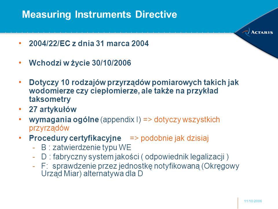 11/10/2006 Measuring Instruments Directive 2004/22/EC z dnia 31 marca 2004 Wchodzi w życie 30/10/2006 Dotyczy 10 rodzajów przyrządów pomiarowych takic