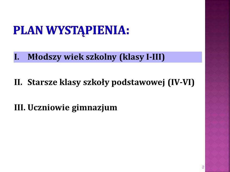 I. Młodszy wiek szkolny (klasy I-III) II.
