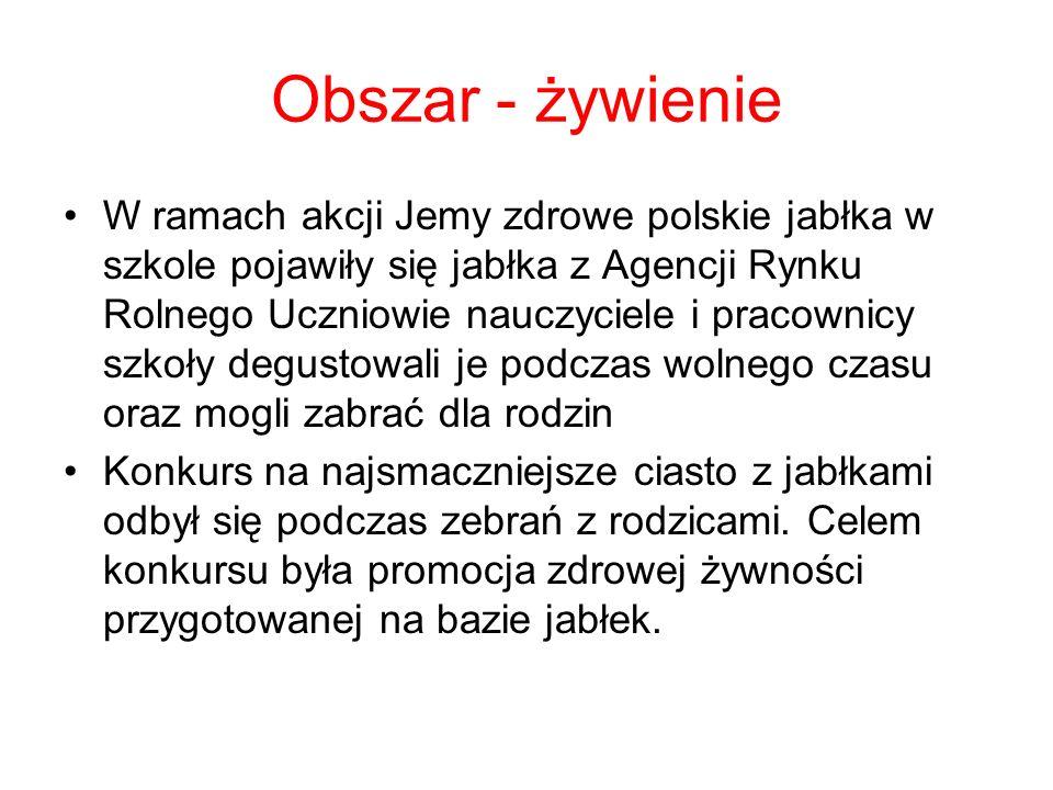 Obszar - żywienie W ramach akcji Jemy zdrowe polskie jabłka w szkole pojawiły się jabłka z Agencji Rynku Rolnego Uczniowie nauczyciele i pracownicy sz