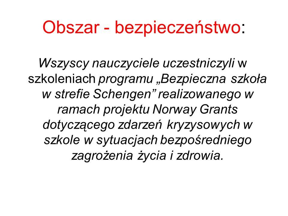"""Obszar - bezpieczeństwo: Wszyscy nauczyciele uczestniczyli w szkoleniach programu """"Bezpieczna szkoła w strefie Schengen"""" realizowanego w ramach projek"""