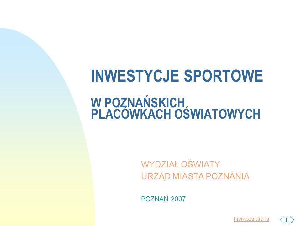 Pierwsza strona INWESTYCJE SPORTOWE W POZNAŃSKICH PLACÓWKACH OŚWIATOWYCH WYDZIAŁ OŚWIATY URZĄD MIASTA POZNANIA POZNAŃ 2007