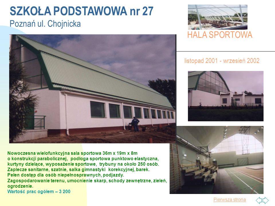 Pierwsza strona SZKOŁA PODSTAWOWA nr 27 Poznań ul.