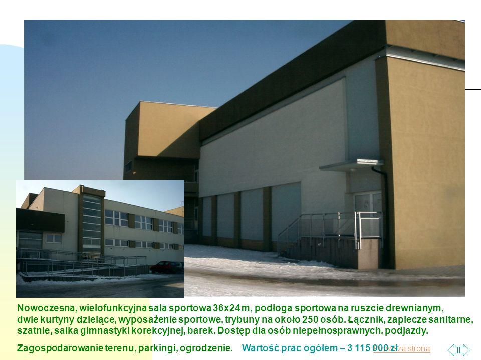 Pierwsza strona Nowoczesna, wielofunkcyjna sala sportowa 36x24 m, podłoga sportowa na ruszcie drewnianym, dwie kurtyny dzielące, wyposażenie sportowe, trybuny na około 250 osób.
