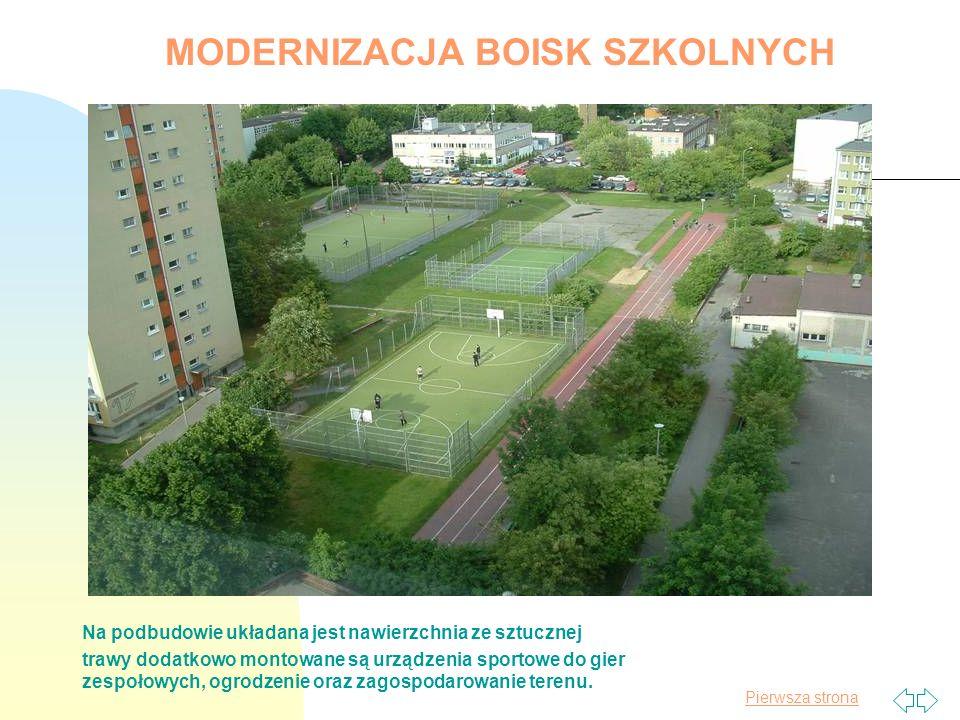 Pierwsza strona Na podbudowie układana jest nawierzchnia ze sztucznej trawy dodatkowo montowane są urządzenia sportowe do gier zespołowych, ogrodzenie oraz zagospodarowanie terenu.