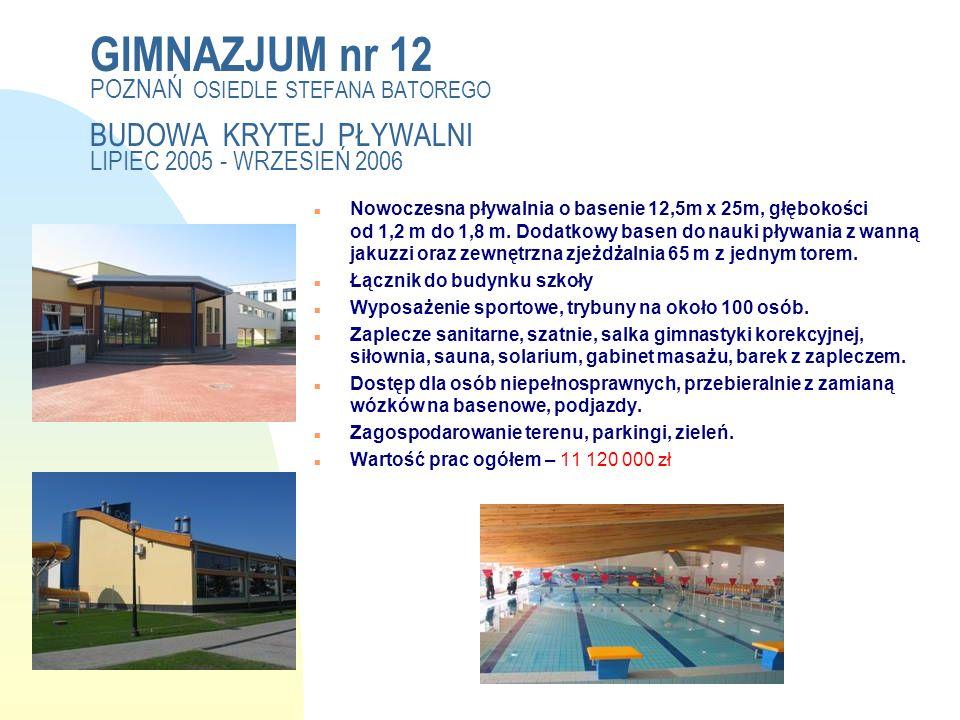 Pierwsza strona Hala sportowa 44mx30m z basenem do nauki pływania 14x8m.