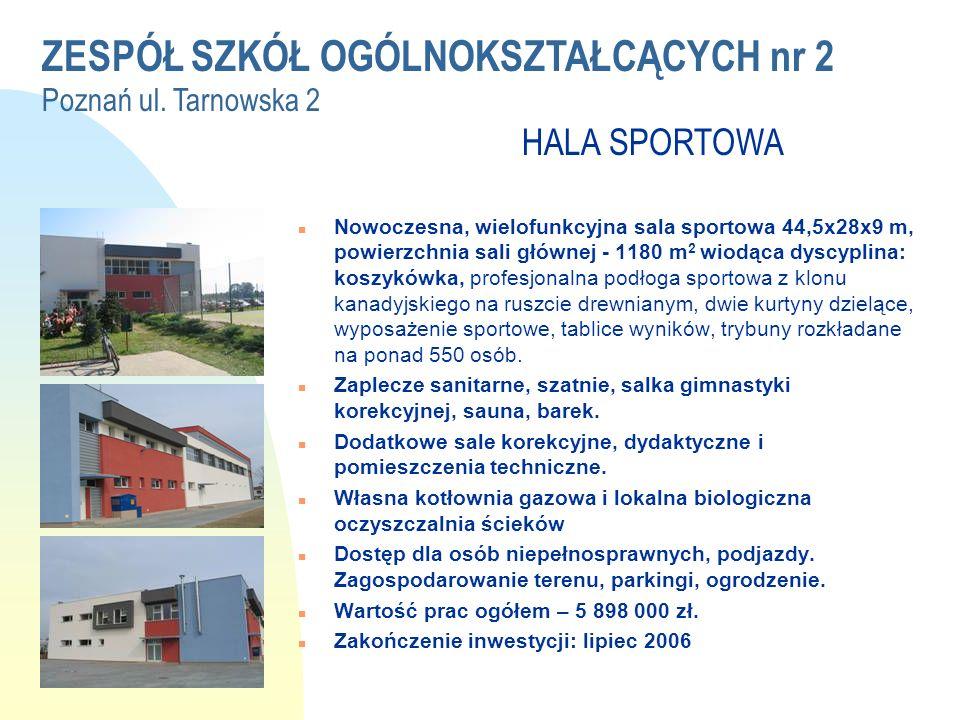 ZESPÓŁ SZKÓŁ OGÓLNOKSZTAŁCĄCYCH nr 2 Poznań ul. Tarnowska 2 HALA SPORTOWA WRZESIEŃ 2006