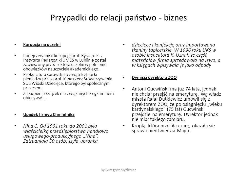 By Grzegorz Myśliwiec Przypadki do relacji państwo - biznes Korupcja na uczelni Podejrzewany o korupcję prof.