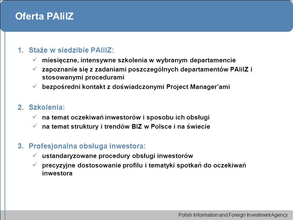 Polish Information and Foreign Investment Agency Oferta PAIiIZ 1.Staże w siedzibie PAIiIZ: miesięczne, intensywne szkolenia w wybranym departamencie z