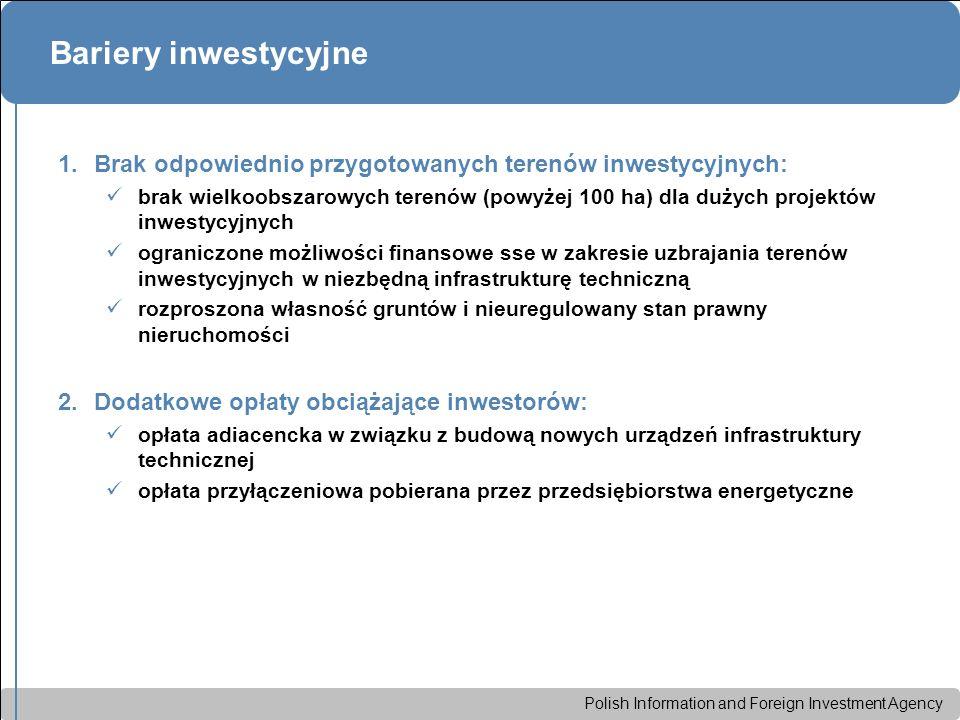 Polish Information and Foreign Investment Agency Bariery inwestycyjne 1.Brak odpowiednio przygotowanych terenów inwestycyjnych: brak wielkoobszarowych