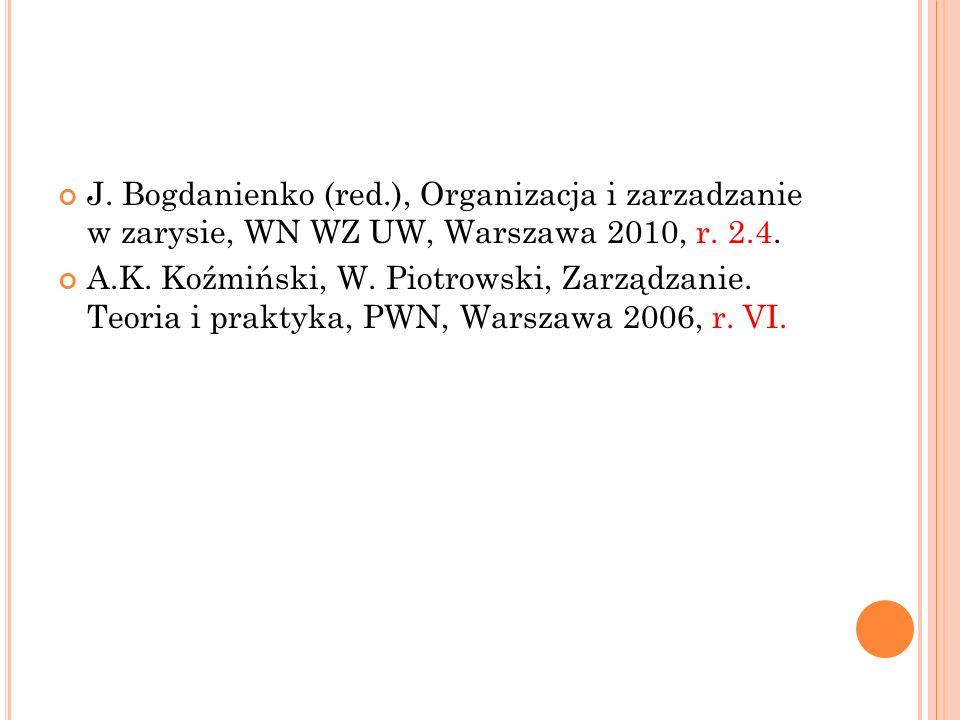 J.Bogdanienko (red.), Organizacja i zarzadzanie w zarysie, WN WZ UW, Warszawa 2010, r.