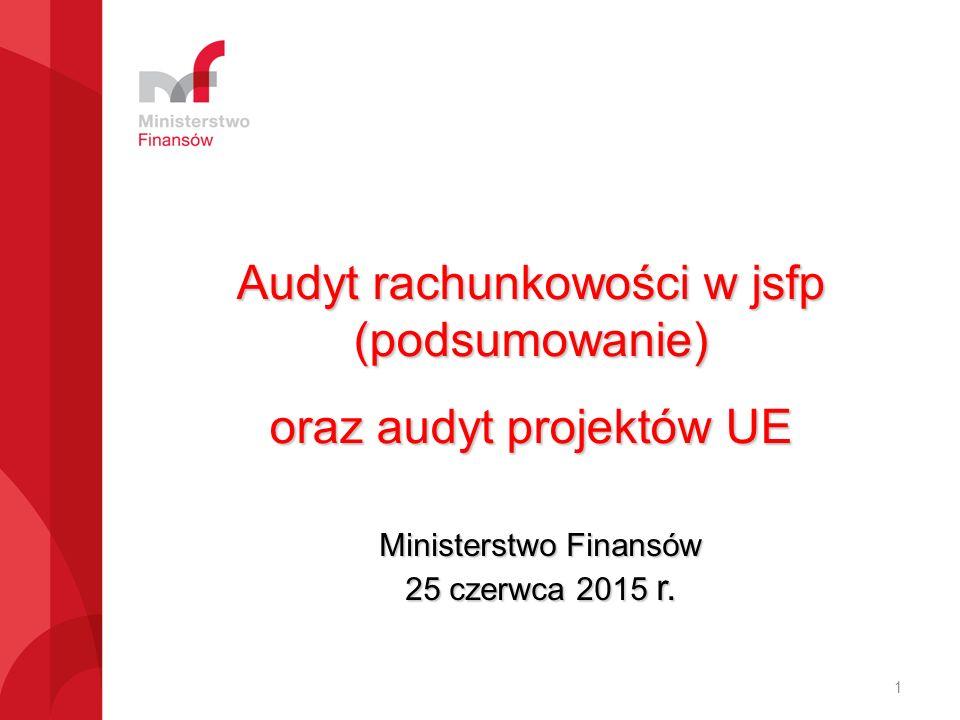 Audyt rachunkowości w jsfp (podsumowanie) oraz audyt projektów UE Ministerstwo Finansów 25 czerwca 2015 r.