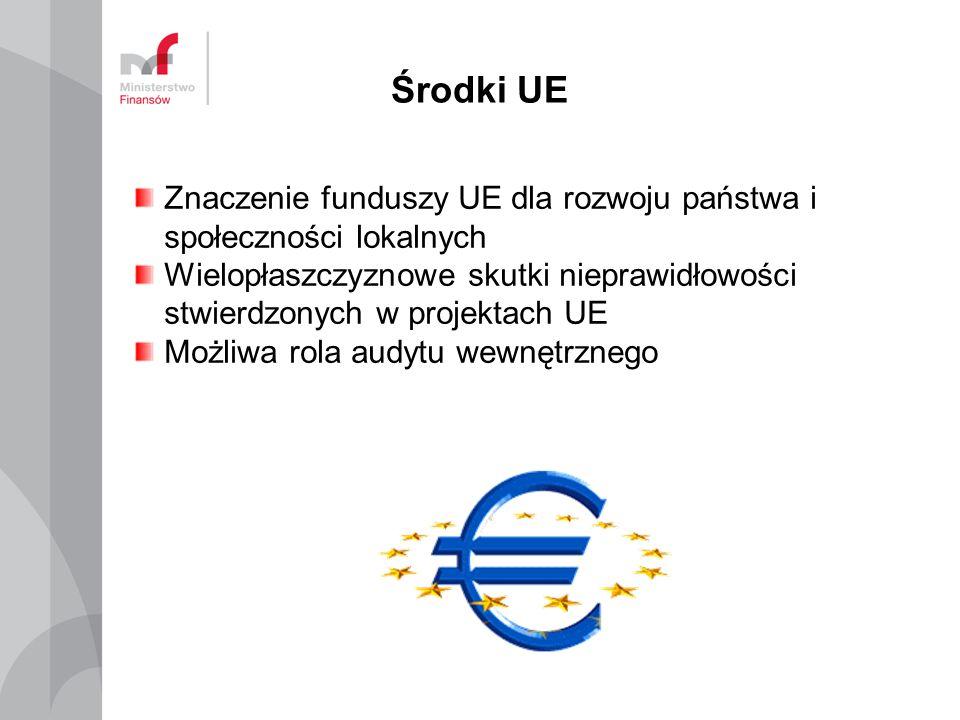 Środki UE Znaczenie funduszy UE dla rozwoju państwa i społeczności lokalnych Wielopłaszczyznowe skutki nieprawidłowości stwierdzonych w projektach UE Możliwa rola audytu wewnętrznego