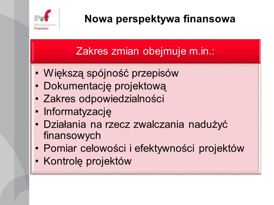 Nowa perspektywa finansowa Zakres zmian obejmuje m.in.: Większą spójność przepisów Dokumentację projektową Zakres odpowiedzialności Informatyzację Działania na rzecz zwalczania nadużyć finansowych Pomiar celowości i efektywności projektów Kontrolę projektów