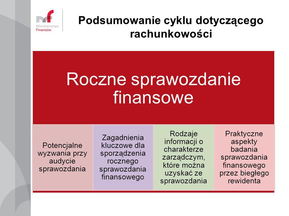 Podsumowanie cyklu dotyczącego rachunkowości Roczne sprawozdanie finansowe Potencjalne wyzwania przy audycie sprawozdania Zagadnienia kluczowe dla sporządzenia rocznego sprawozdania finansowego Rodzaje informacji o charakterze zarządczym, które można uzyskać ze sprawozdania Praktyczne aspekty badania sprawozdania finansowego przez biegłego rewidenta
