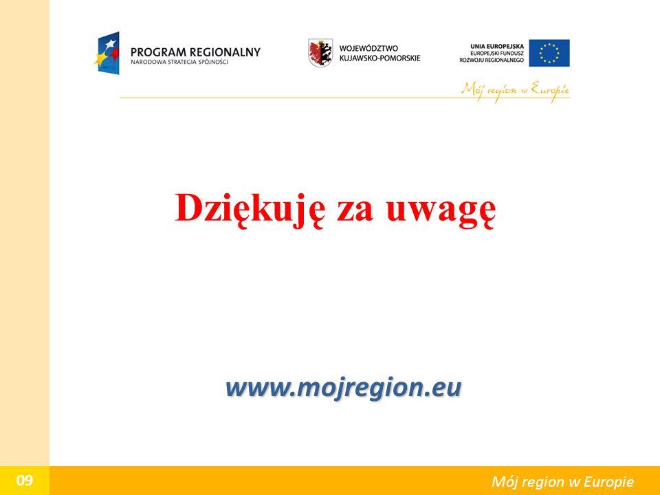 Dziękuję za uwagę www.mojregion.eu www.mojregion.eu 09 Mój region w Europie