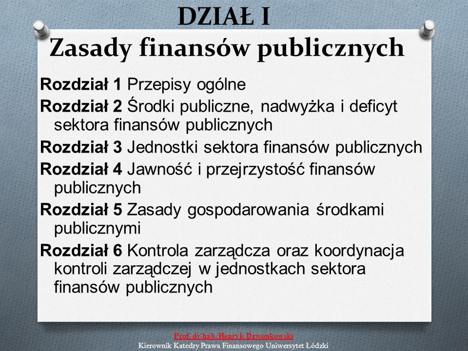 DZIAŁ II Państwowy dług publiczny Rozdział 1 Przepisy ogólne Rozdział 2 Finansowanie potrzeb pożyczkowych budżetu państwa Rozdział 3 Procedury ostrożnościowe i sanacyjne Rozdział 4 Ogólne zasady zaciągania zobowiązań przez inne niż Skarb Państwa jednostki sektora finansów publicznych Rozdział 5 Zasady i tryb emisji skarbowych papierów wartościowych Prof.