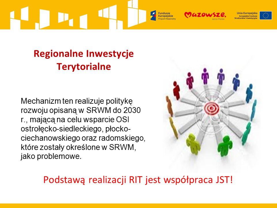Regionalne Inwestycje Terytorialne Mechanizm ten realizuje politykę rozwoju opisaną w SRWM do 2030 r., mającą na celu wsparcie OSI ostrołęcko-siedleck