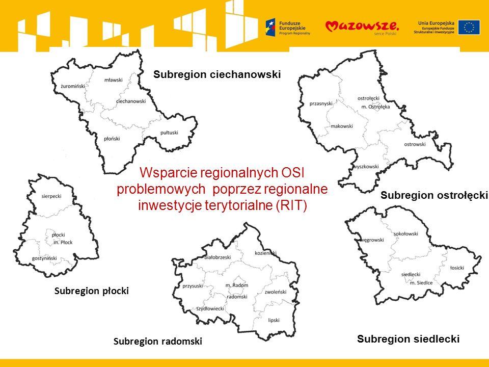 Subregion ciechanowski Subregion płocki Subregion ostrołęcki Subregion radomski Subregion siedlecki Wsparcie regionalnych OSI problemowych poprzez reg