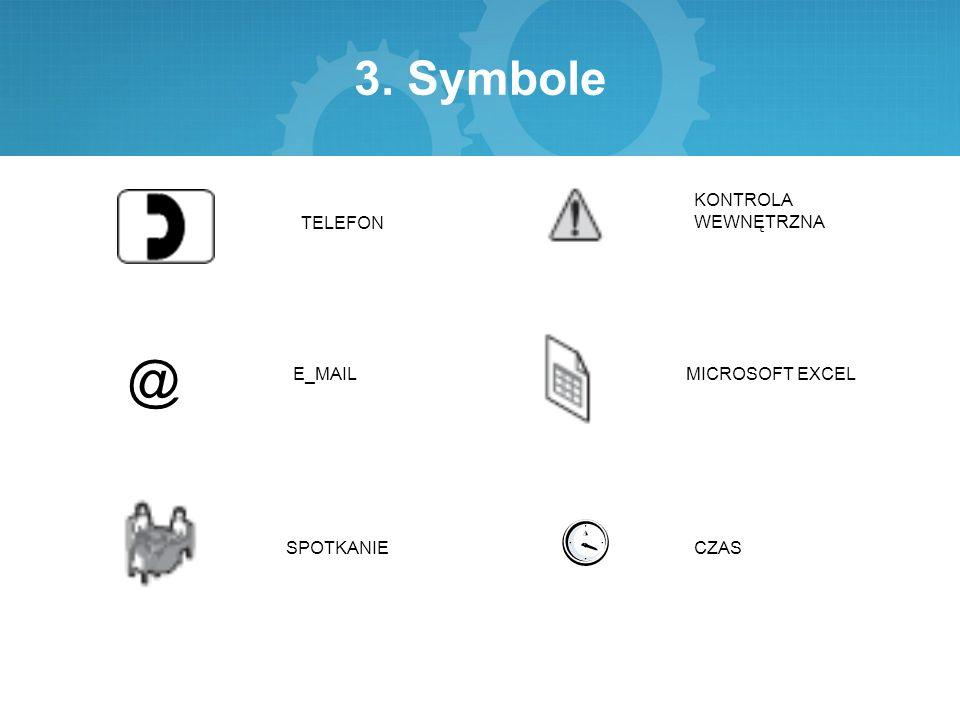 3. Symbole TELEFON E_MAIL SPOTKANIE KONTROLA WEWNĘTRZNA MICROSOFT EXCEL CZAS @