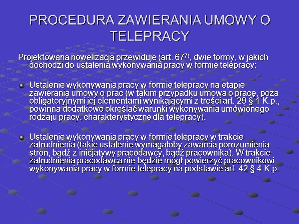 PROCEDURA ZAWIERANIA UMOWY O TELEPRACY Projektowana nowelizacja przewiduje (art.