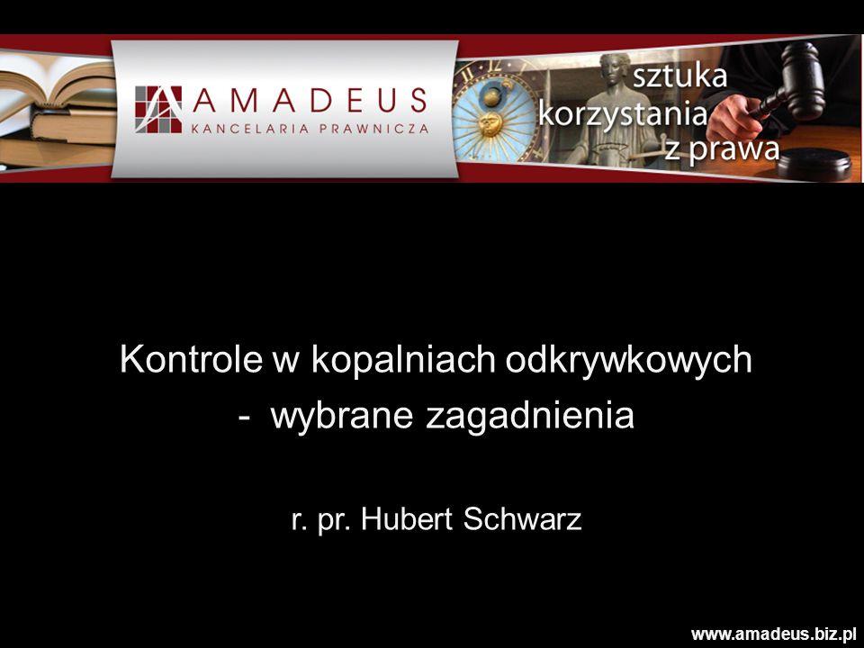 Kontrole w kopalniach odkrywkowych -wybrane zagadnienia r. pr. Hubert Schwarz www.amadeus.biz.pl