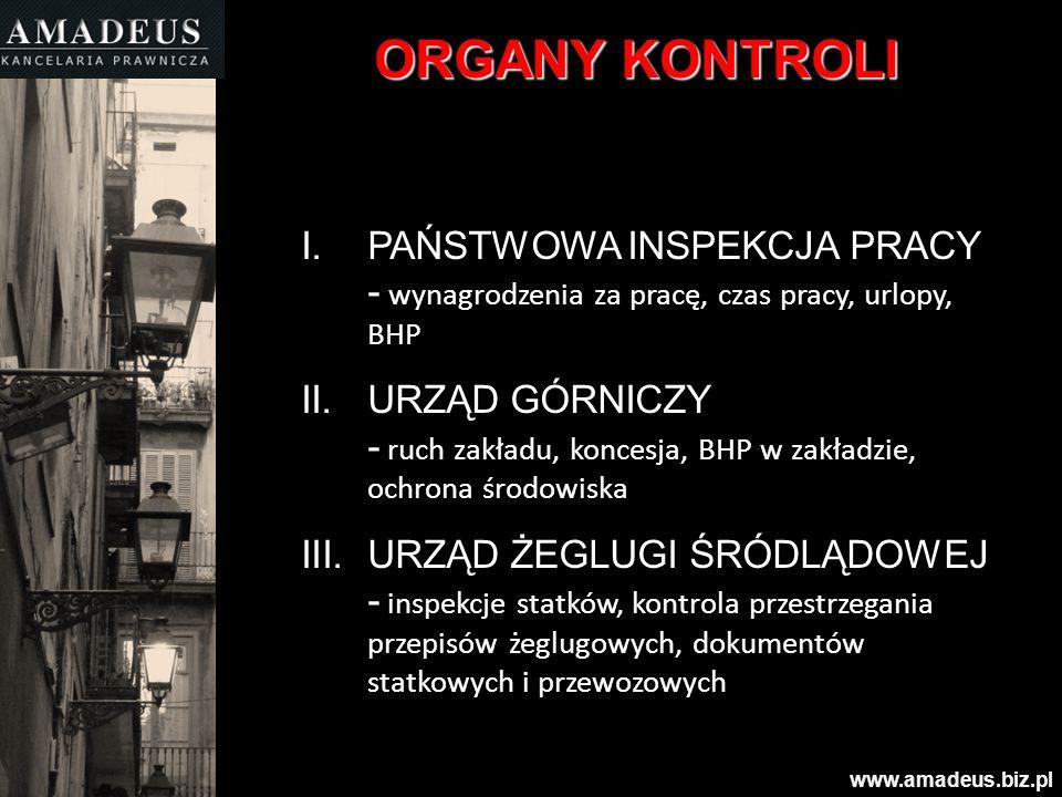 ORGANY KONTROLI I.PAŃSTWOWA INSPEKCJA PRACY - wynagrodzenia za pracę, czas pracy, urlopy, BHP II.URZĄD GÓRNICZY - ruch zakładu, koncesja, BHP w zakład