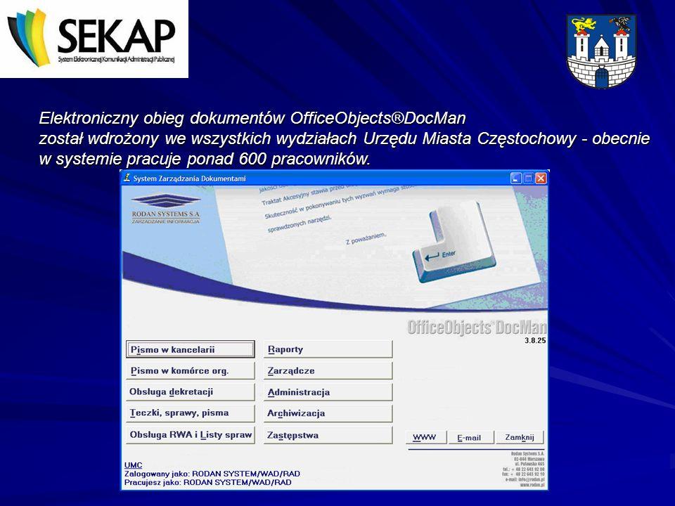 Elektroniczny obieg dokumentów OfficeObjects®DocMan został wdrożony we wszystkich wydziałach Urzędu Miasta Częstochowy - obecnie w systemie pracuje po