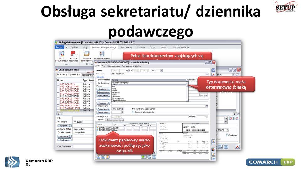 Obsługa sekretariatu/ dziennika podawczego Pełna lista dokumentów znajdujących się w obiegu wraz z informację o aktualnym statusie Typ dokumentu może