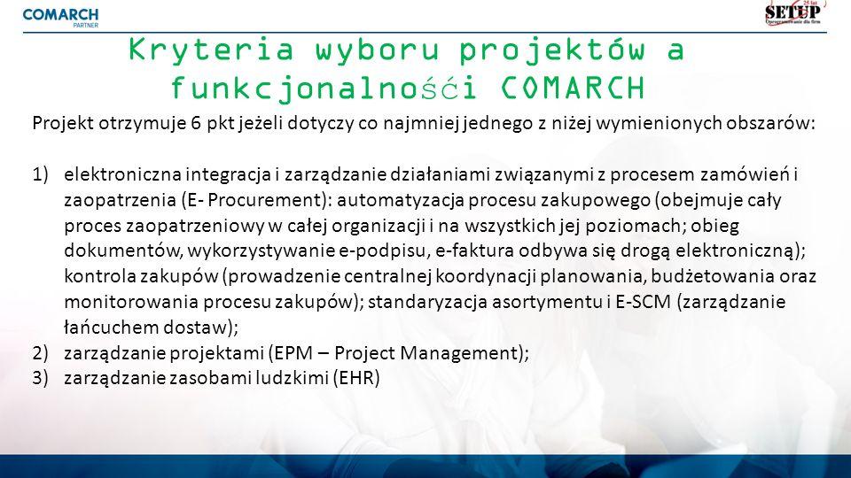 Kryteria wyboru projektów a funkcjonalnośći COMARCH Projekt otrzymuje 6 pkt jeżeli dotyczy co najmniej jednego z niżej wymienionych obszarów: 1)elektr