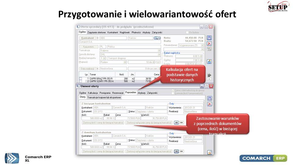 Przygotowanie i wielowariantowość ofert Kalkulacja ofert na podstawie danych historycznych Zastosowanie warunków z poprzednich dokumentów (cena, ilość