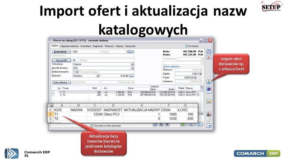 Import ofert i aktualizacja nazw katalogowych Aktualizacja bazy towarów (nazw) na podstawie katalogów dostawców Import ofert dostawców np. z arkusza E
