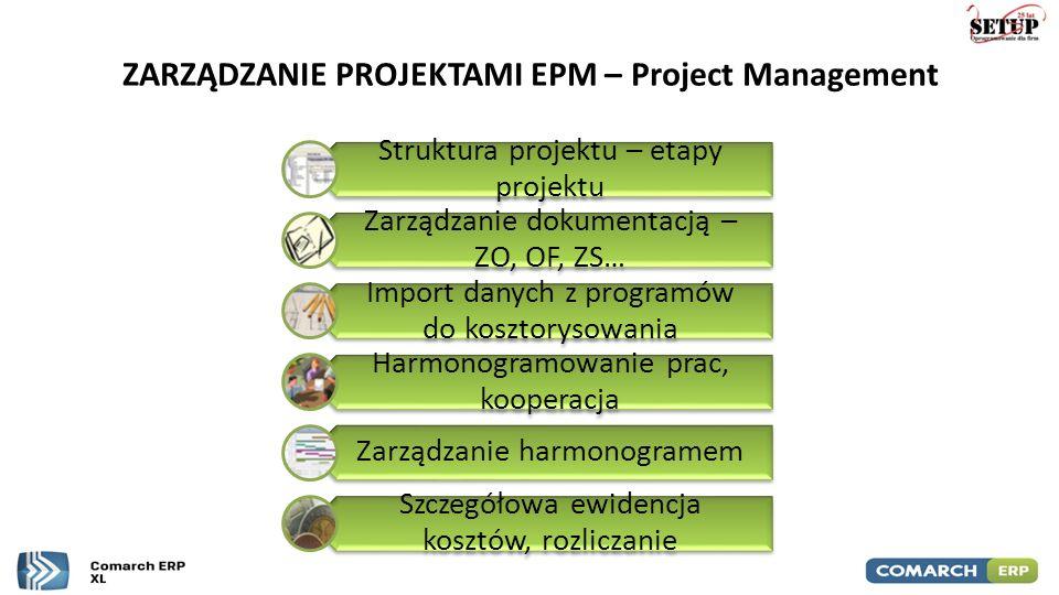 ZARZĄDZANIE PROJEKTAMI EPM – Project Management Struktura projektu – etapy projektu Zarządzanie dokumentacją – ZO, OF, ZS… Import danych z programów d