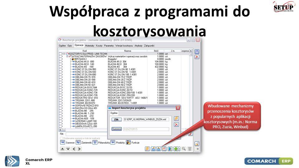 Współpraca z programami do kosztorysowania Wbudowane mechanizmy przenoszenia kosztorysów z popularnych aplikacji kosztorysowych (m.in.: Norma PRO, Zuz