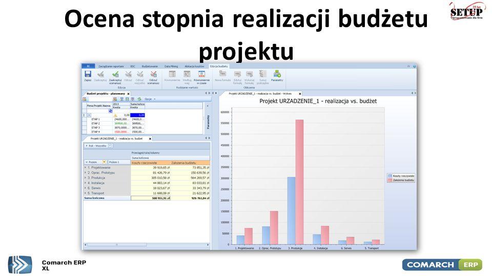 Ocena stopnia realizacji budżetu projektu