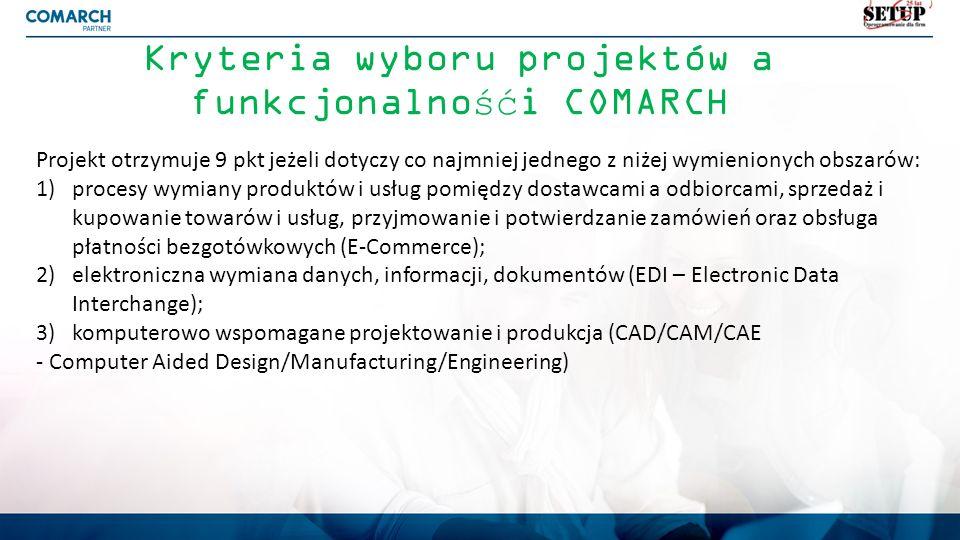 Kryteria wyboru projektów a funkcjonalnośći COMARCH Projekt otrzymuje 9 pkt jeżeli dotyczy co najmniej jednego z niżej wymienionych obszarów: 1)proces