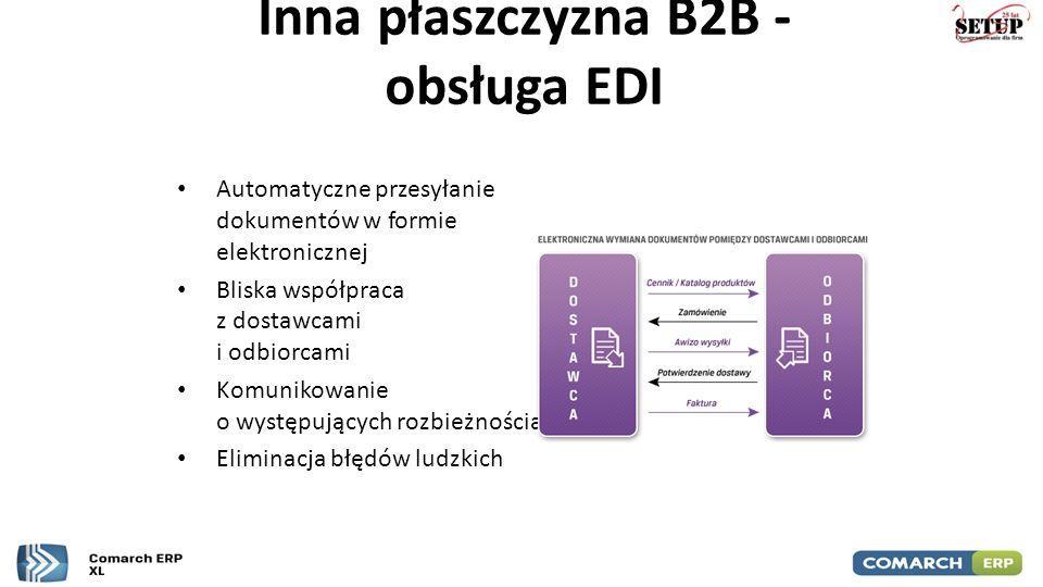 Inna płaszczyzna B2B - obsługa EDI Automatyczne przesyłanie dokumentów w formie elektronicznej Bliska współpraca z dostawcami i odbiorcami Komunikowan