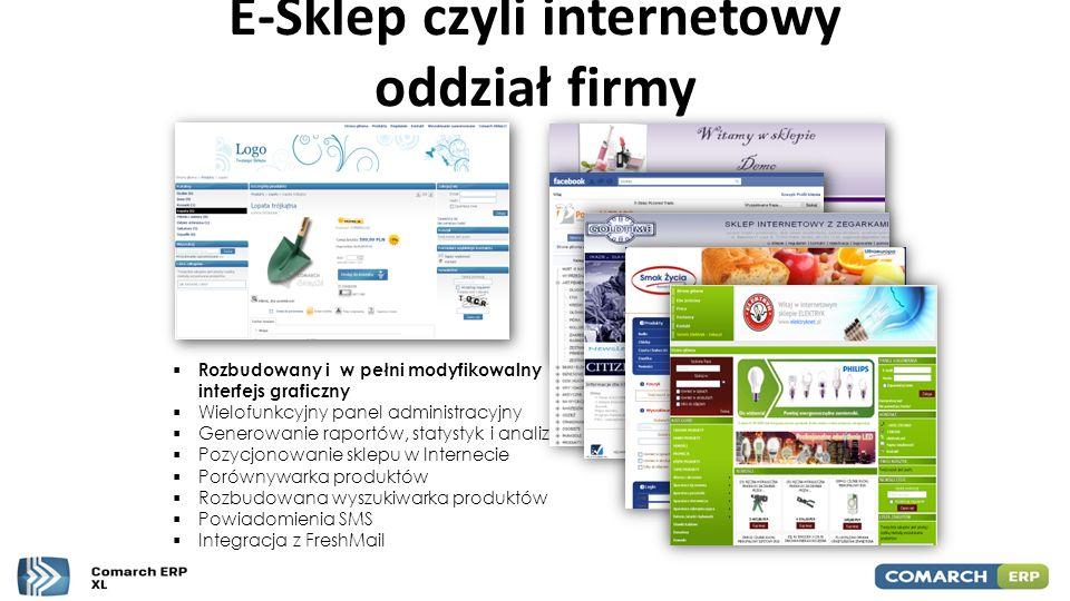 E-Sklep czyli internetowy oddział firmy  Rozbudowany i w pełni modyfikowalny interfejs graficzny  Wielofunkcyjny panel administracyjny  Generowanie
